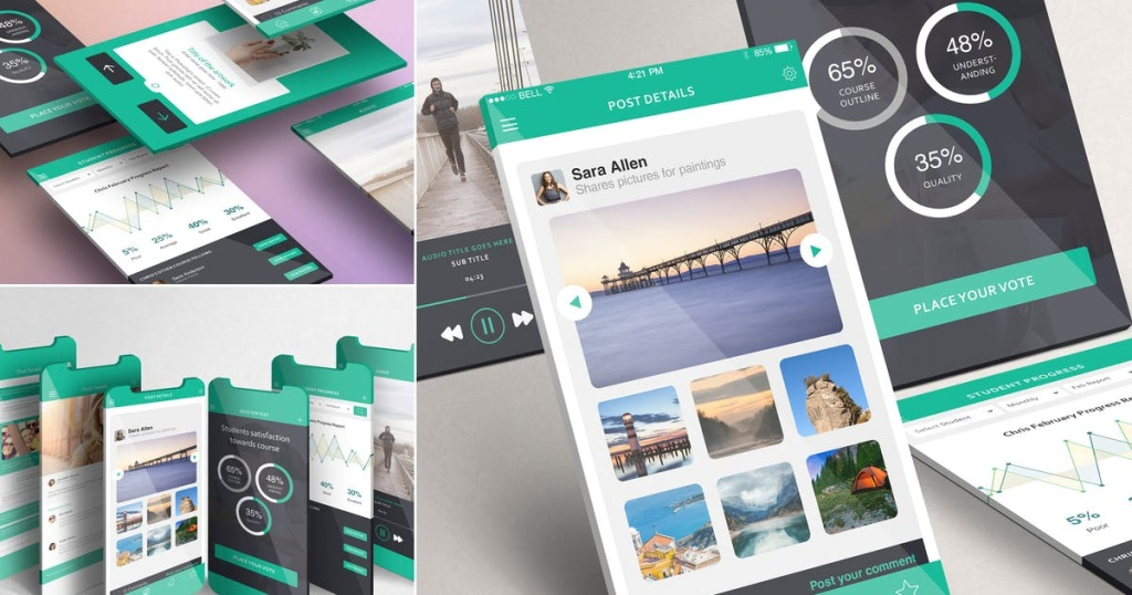 iPhone手机应用UI设计效果图预览样机模板 Multi-Screen Mockups For iPhone插图
