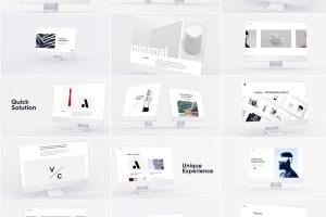 网站UI界面设计效果图预览白色iMac电脑样机模板 White iMac Mockup插图1