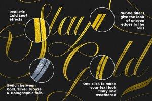 奢华金色叶子纹理图层样式 Gold Leaf Press – Glitter Update插图3