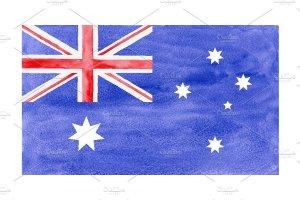 一枚水彩澳大利亚国旗 Watercolor Flag of Australia插图1