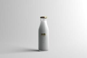 玻璃牛奶瓶牛奶品牌Logo设计展示样机模板 Milk Bottle Packaging Mock-Up插图10