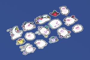 有趣可爱的晚安贴纸画手绘矢量图形设计素材 Fun Good Night Stickers Set插图3
