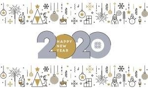 扁平设计风格彩色线条新年庆祝主题概念插画素材 Flat Thin Color Line Concept of Happy New Year插图6