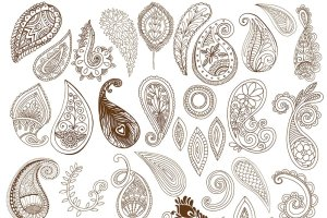 波西米亚风格艺术线条插图素材 Boho Paisley Line Art Illustrations插图2