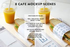 三明治咖啡馆食品品牌样机模板 Sandwich cafe Mockup插图2