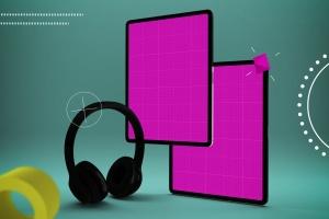 抽象设计风格iPad Pro平板电脑APP设计屏幕预览样机 Abstract iPad Pro Music App插图13