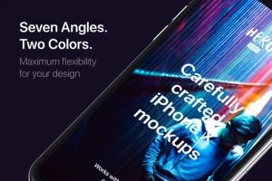 高质量黑色iPhone X设备样机模板 HERO Phone X Mockups插图6