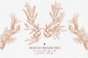 高清手绘橄榄枝叶PNG素材 Rough Branches插图1