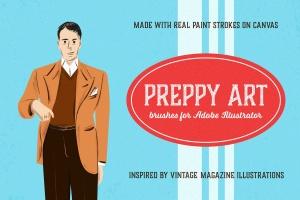 油画数码创作必备AI笔刷合集 Preppy Art Brushes for Adobe Illustrator插图1