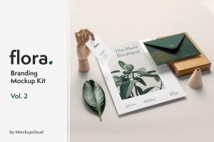 高端品牌VI设计办公用品套件样机模板v2 Flora Branding Mockup Vol. 2插图1