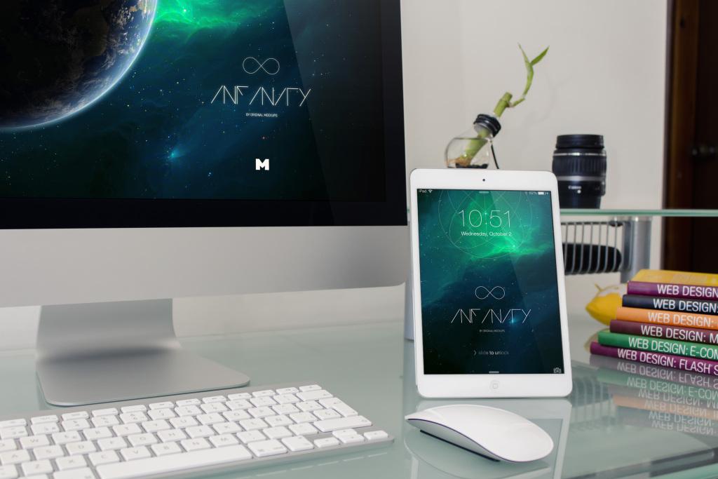 iMac&iPad桌面设备屏幕演示图样机模板02 Desktop Device Mockup 2插图