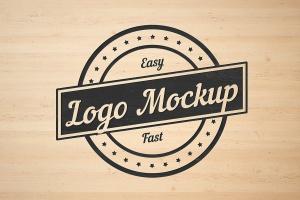 平面logo木板背景纹理样机 Logo Flat Mockup插图1
