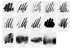 44种墨水笔画笔图形图案PS笔刷 Inktober 2019 Photoshop Brushes插图4