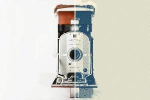 一键生成怀旧老照片效果PSD分层模板 Worn Press Photoshop Effects Kit插图5