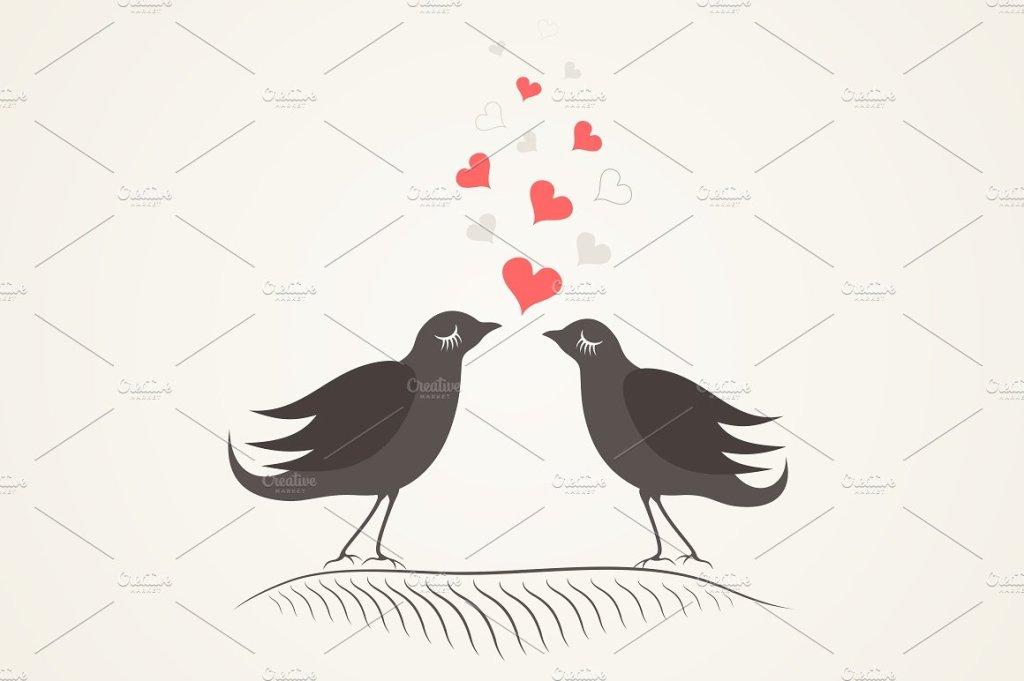 爱情鸟爱心小鸟矢量插画  Love a bird2插图