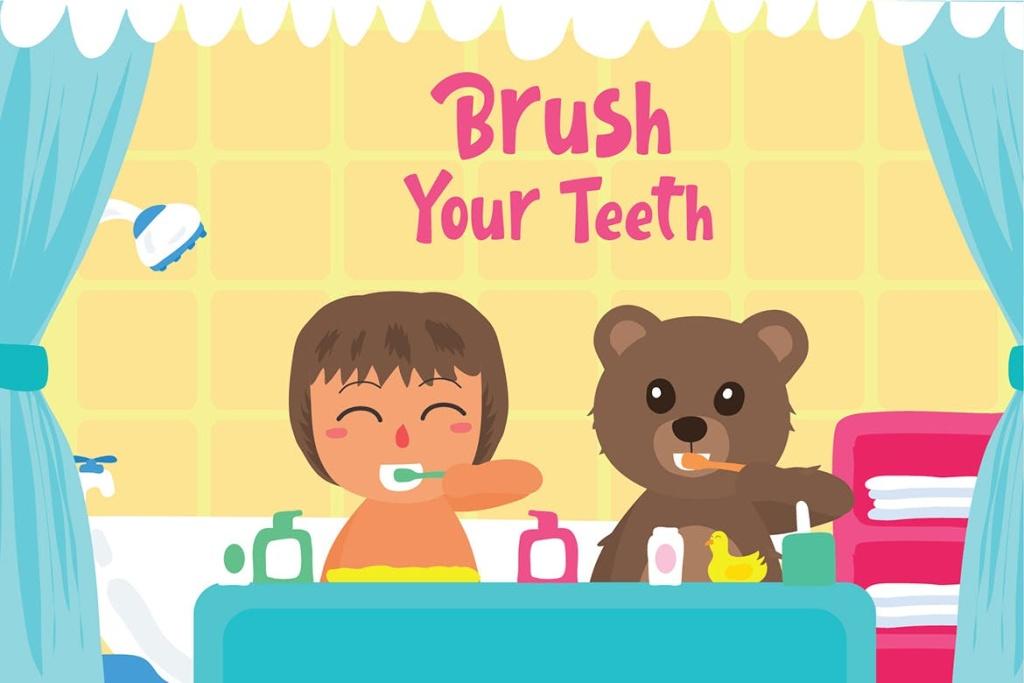 儿童爱牙护牙爱牙日主题矢量插画素材 Brush Teeth – Vector Illustration插图