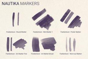 手绘插画概念艺术家Procreate笔刷[水墨/马克笔/水彩] Nautika – Brush Pack for Procreate插图(4)