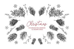 13种冬季元素涂鸦线条绘画图形素材 13 Winter Elements – Doodle Line Icons插图1
