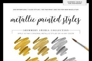 100种闪粉效果图层样式 Shimmery Gold Styles for Photoshop插图5