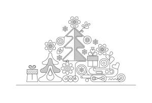圣诞树线条艺术矢量插画素材 6 options of a Christmas Background插图5