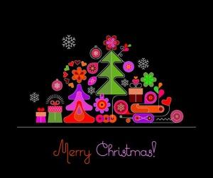 圣诞树线条艺术矢量插画素材 6 options of a Christmas Background插图2