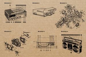 复古视听电器可视化结构矢量图形素材 Retro Diagrams – Audio Visual Edition插图6