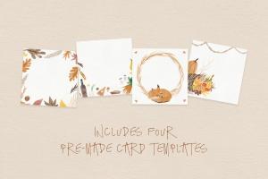 秋天主题水彩手绘图案设计素材包 Autumn Watercolor Kit插图2