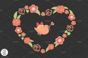 爱情花环玫瑰心形剪贴画 Love wreaths roses heart clip art插图4