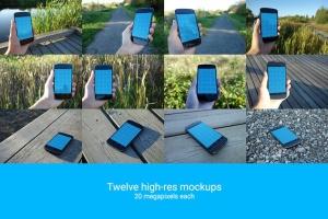 真实场景的手持安卓手机设备样机 12 Realistic Android Mockups插图5