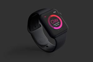 Apple Watch智能手表屏幕预览图样机01 Clay Apple Watch Mockup 01插图3