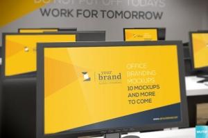 3D立体logo标志企业文化办公室设计VI样机展示模型mockups插图7