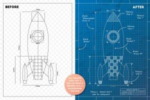 工业蓝图设计图风格设计AI模板工具包 The Complete Vector Blueprint Kit插图3