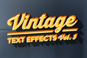 复古风格质感字体文本图层样式合集v3 Vintage Text Effects Vol.3插图1