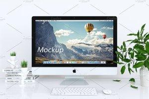 iMac一体机样机 iMac Mockup (white – 01)插图1
