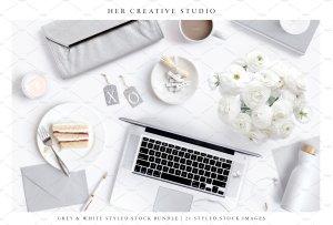 现代简约风格灰白配色场景模板 White & Grey Styled Stock Bundle插图4