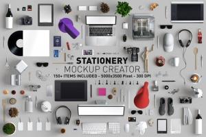 超过150个项目顶视角巨大的办公用品文具VI样机展示模型mockups插图1