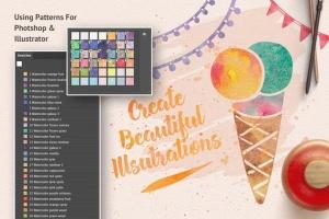 超级水彩绘画设计师工具包[ps水彩笔刷/样式/纹理] Artistic Studio: Watercolor Toolkit插图4