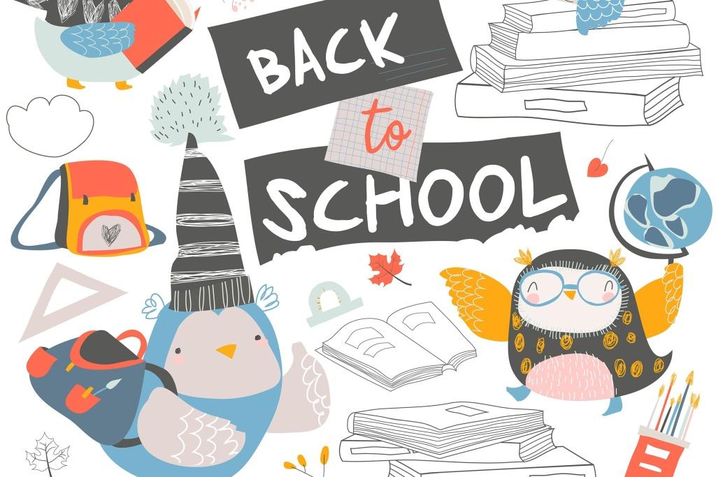 可爱卡通猫头鹰矢量手绘图案开学季设计素材 Set of cute owls with books. Back to school.插图