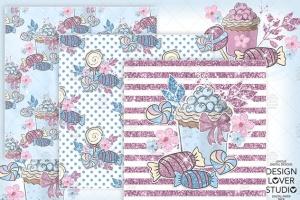 糖果女孩水彩花卉剪贴画合集 Candy Girl digital paper pack插图3