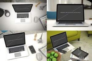 苹果笔记本电脑样机展示模板 Laptop Mockup – 7 Poses插图2