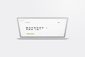 15寸MacBook Pro笔记本半合状态前视图样机02 Clay MacBook Pro 15″ with Touch Bar, Front View Mockup 02插图1