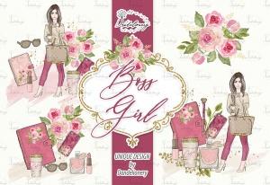 成功女性人物塑造水彩手绘剪贴画PNG素材 Boss Girl design插图2