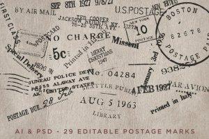 复古邮票印章效果图层样式PSD分层模板 Old Stamping Ground – Smart PSD插图3