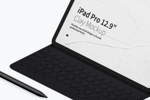 "12.9寸带键盘iPad Pro平板电脑等距右视图样机 Clay iPad Pro 12.9"" Mockup, Isometric Right View With Keyboard插图3"