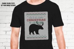 圣诞节主题T恤带鹿角黑熊印花图案设计模板 Funny Christmas Print T-Shirt Sweater. Beer Design插图(3)