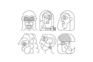 六幅霓虹灯肖像线条艺术矢量插画 Six Portraits Neon and 2 Line Art Options插图4