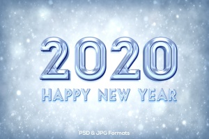新年冰块效果字体设计PSD分层模板v1 New Year 2020 V1插图1