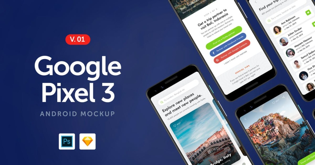 谷歌手机Google Pixel 3屏幕预览样机模板v1 Google Pixel 3 – Android Mockup 1.0插图