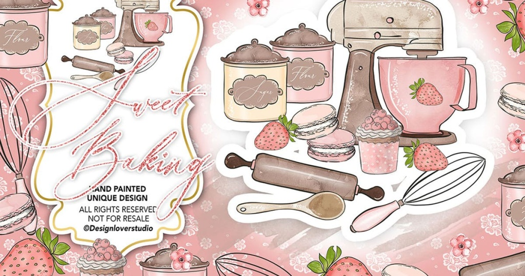 美食烘焙烹饪水彩插画设计素材 Sweet Baking design插图
