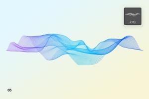 抽象数字网格波纹背景纹理PS笔刷 Digital Grid Waves Photoshop Brushes插图7